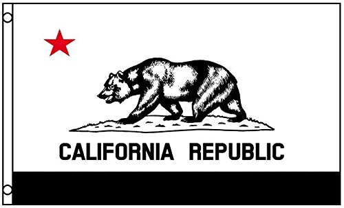 3x5 Black and White California State Flag Grizzly Bear Prote