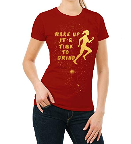 Gold Foil Womens Shirt - Wake Up Adult Running T-Shirt (M) ()