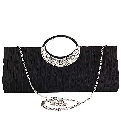 TOPCHANCES Women's Evening Party Rhinestone Satin Pleated Evening Wedding Party Clutch Purse Wallet Handbag (Black) Buckle Clutch Evening Bag