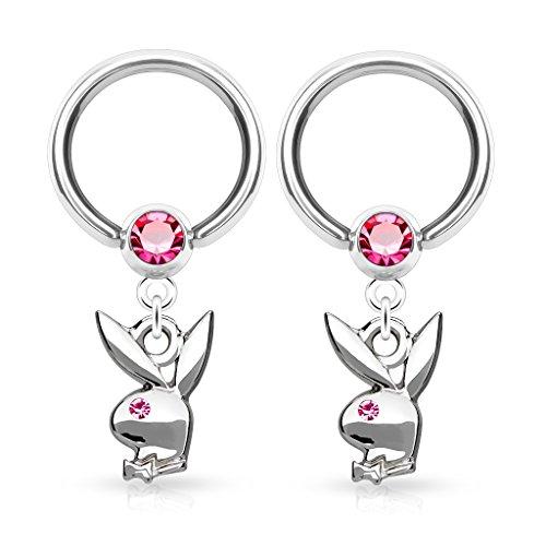 Playboy Bunny Dangle Captive Bead Rings - Sold as a Pair (Dangle Captive Ring)