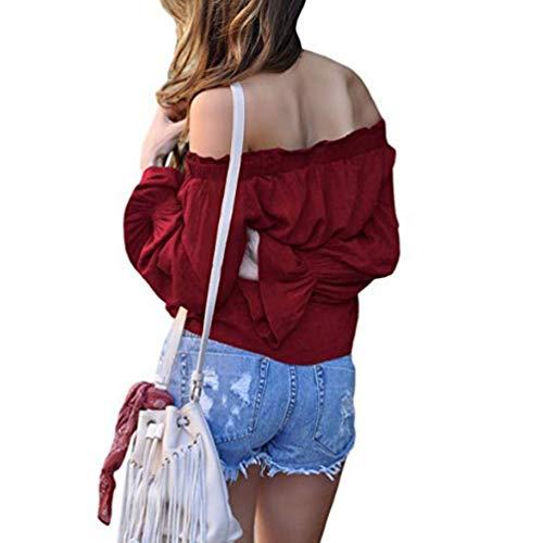 Nue Femme T Chemisier lgante Bretelles Rouge Grande Epaule Chic Longues Shirt sans Casual Blouse Taille Tops Haut Haut Xinwcang Manches xtR5zdwqR