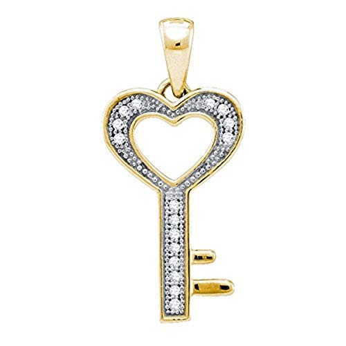 Womens Round Diamond Key Love Pendant 1/20-Carat tw, in Gold-plated Sterling Silver from Roy Rose Jewelry ()
