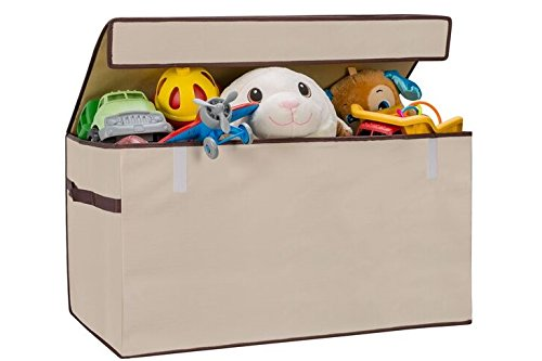 Collapsible Toy Chest for Kids (XX-Large) Huge Storage Basket w/ Flip-Top Lid | Organizer Bin for Bedrooms, Closets, Child Nursery | Store Stuffed Animals, Games, Clothes, Shoes