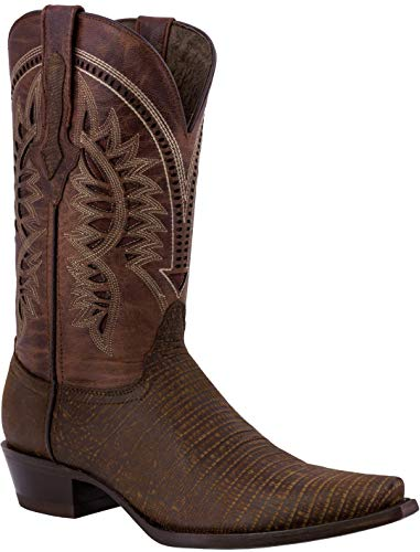 Texas Legacy - Mens Cognac Lizard Western Wear Cowboy Boots Pattern Leather Snip Toe 12 E US