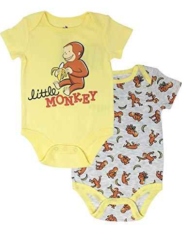 Curious George Infant Baby Boys' 2-Pack Bodysuit, Yellow