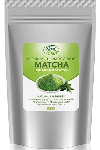 Boost Healthy Matcha Green Tea Powder, Organic Metabolism Booster, Improve Skin Health, Premium Culinary Grade in Size, 5 oz