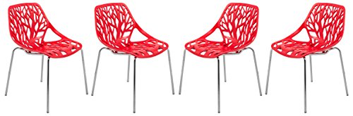 LeisureMod Modern Asbury Dining Side Chair with Chromed Legs in Red Set of 4