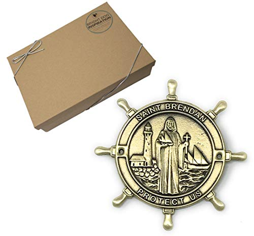 - Bright Dog Inspiration Saint Brendan The Navigator Boat Plaque Gold Finish in Gift Box | Patron Saint of Sailors and Mariners