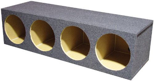 "Q Power QCM104 10"" 4-Hole Empty Car Subwoofer Box"