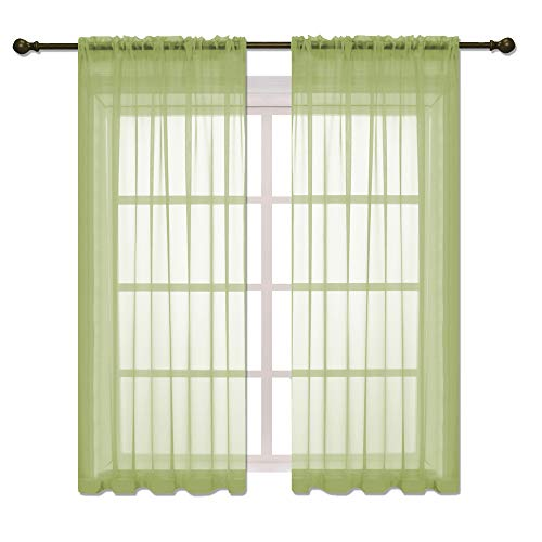 HOLKING Rod Pocket Sheer Curtains 63 inch for Bedroom Living Room Window Treatment Set Green Curtains,2 Panels Each is 52 inches Wide by 63 inches Long
