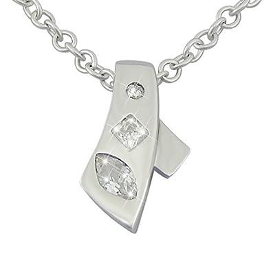 613ff93d4eef veuer Cadenas de plata de ley 925 rodiada de joyas para mujer collar de  cadena y colgante de plata auténtica con tres circonitas lazo - Regalo para  Mujeres ...