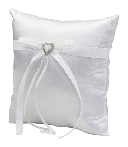 Mopec Cojín para alianzas Blanco con Cinta otomán y corazón de Strass, Pack de 1 Unidad, Textil, 7.00x20.00x20.00 cm