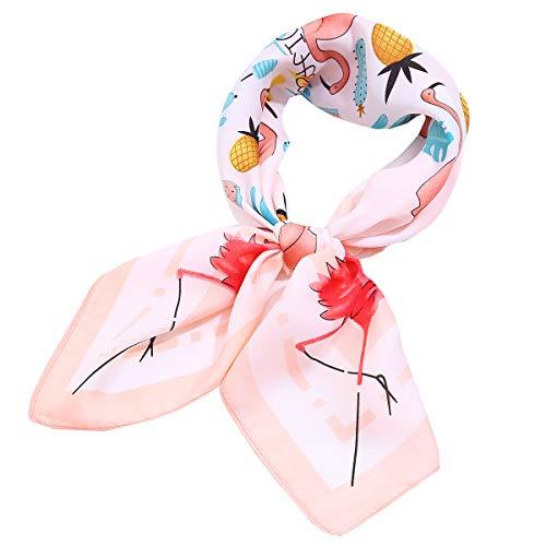 (AOLIGE Hair Scarf Satin Square Head Neck Scarfs for Women (print flamingo), Medium)