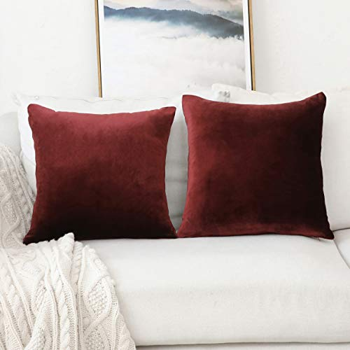 HOME BRILLIANT Set of 2 Velvet Cushion Cover Throw Pillow Covers Decorative Pillowcases for Sofa Chiar Couch, 18 x 18 inch(45x45cm), Brick Red