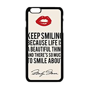 WEIWEI Marilyn Monroe Keep smiling Quote Cell Phone Case for Iphone 6 Plus