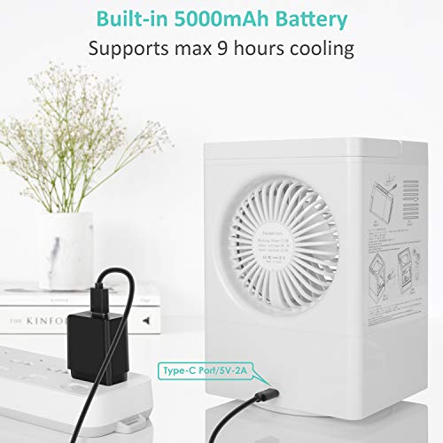 Portable Mini Air Conditioner Units Mobile Air Cooler Fan 60°/120°Auto Oscillation, 3 Wind Speeds, 3 Cooling Levels, Perfect for Office Desk Dorm Bedroom