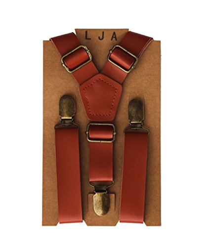 London Jae Apparel 1 Leather like Cognac Brown Suspenders for Big and Tall groomsmen (adjustable from 35-67 fits up to 68) Vintage Wedding Style (Cognac Brown, Brass Clips)