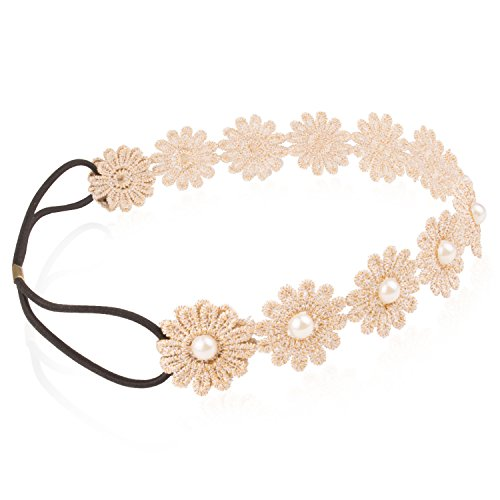Lace Flower Headband - Beige Chrysanthemum with Gold Line and Pearl for Festival Wedding
