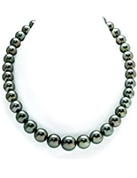 14K Gold 10-12mm Peacock Tahitian South Sea Cultured Pearl Necklace