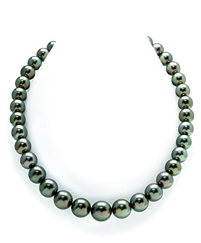 (THE PEARL SOURCE 14K Gold 10-12mm Round Genuine Peacock Tahitian South Sea Cultured Pearl Necklace in 17