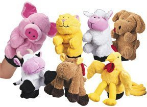 Constructive Playthings Plush Farm Animal Glove Puppets /...