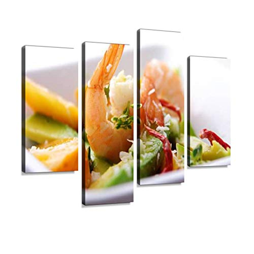Coconut Mango Shrimp - Shrimp,Avocado and Mango Salad Canvas Wall Art Hanging Paintings Modern Artwork Abstract Picture Prints Home Decoration Gift Unique Designed Framed 4 Panel