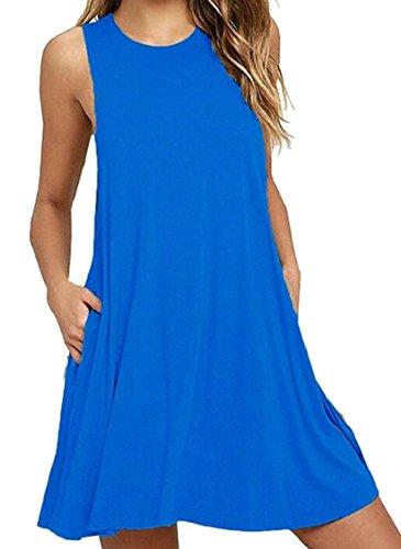 Jaycargogo Sans Manches Été Des Femmes Balançoire Simples T-shirt De Ciel Bleu Robe Lâche