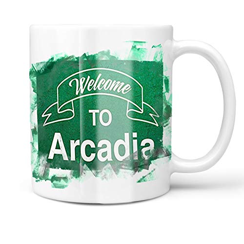 Neonblond 11oz Coffee Mug Green Sign Welcome To Arcadia with your Custom Name