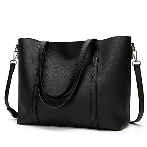 LoZoDo Women Top Handle Satchel Handbags Shoulder Bag Tote Purse (F-Black)