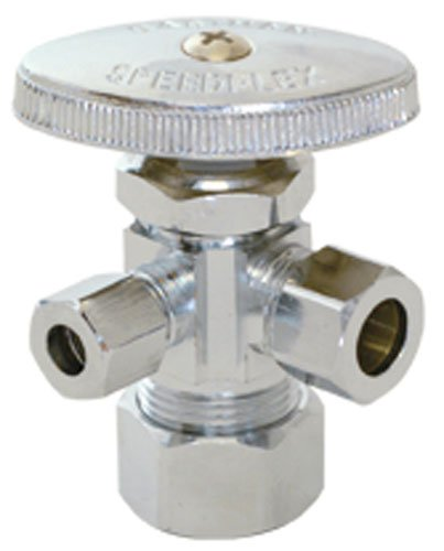 Eastman 04353LF Multi-Turn Dual-Outlet Compression Inlet 3-Way Stop Valve with Removable Metal Handle, 5/8-Inch OD Compression Inlet (1/2-Inch Nom.) x 3/8-OD Compression Outlet x 3/8-Inch OD Compression Outlet, Chrome Plated