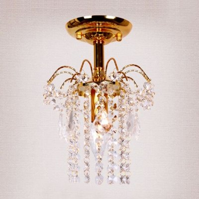 fei Splendid Semi Flush Mount Light Completed with Luxury Gold Finish and Strings of Crystal Beads by fei Crystal light