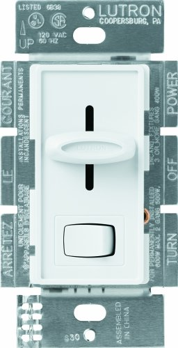 2 Gang Dimmer Switch - Lutron S-603P-WH Skylark 3-Way Dimmer with On/Off Switch, 600-watt, White