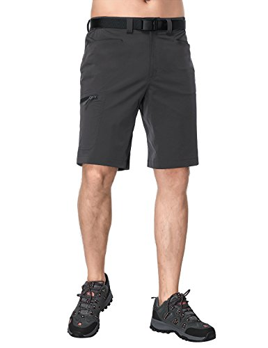 MIERSPORT Mens Stretchy Hiking Shorts Quick Dry Nylon Cargo Short with Elastic Waist, Water Resistant & Lightweight