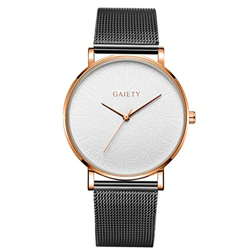 LUCAMORE Mens Analog Quartz Watches Minimalist Ultra Thin Watches for Men with Mesh Stainless Steel ()