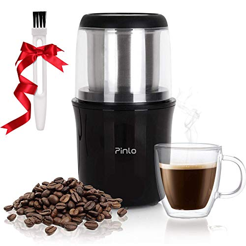 Electric Coffee Grinder Portable Coffee Grinde with Stainless Steel Blade Removable Coffee Powder Bowl Up to 12 CupsFast Grinding for Coffee Beans, Seeds, Spices, Herbs, Dried Nuts and Grains Portable Supports Home Office Travel
