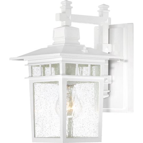 (Nuvo Lighting 60/4951 Cove Neck One Light Wall Lantern/Arm Down 100 Watt A19 Max. Clear Seeded Glass White Outdoor Fixture)