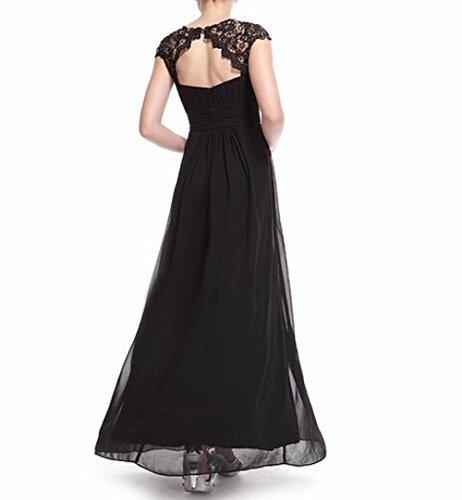 Schwarz Brustumfang Rücken offener der Schwarz Schönheit Leader Gerüscht Damen Abendkleid wxC6vq7