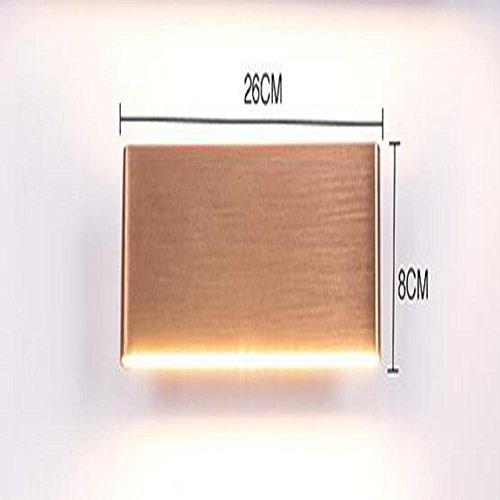 CW&T WW Simple Rectangular Solid Aluminum Rose Gold Wall Lamp Led8w12w Hotel Home Bedroom Living Room Mirror Front Light, Warm Light, 26cm by CW&T