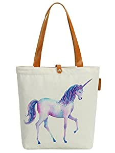 So'each Women's Cute Unicorn Graphic Animal Top Handle Canvas Tote Shoulder Bag