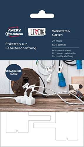 Avery Zweckform 62027 Living Etiketten zur Kabelbeschriftung (permanent haftend, 60 x 40 mm) 24 Stück weiß