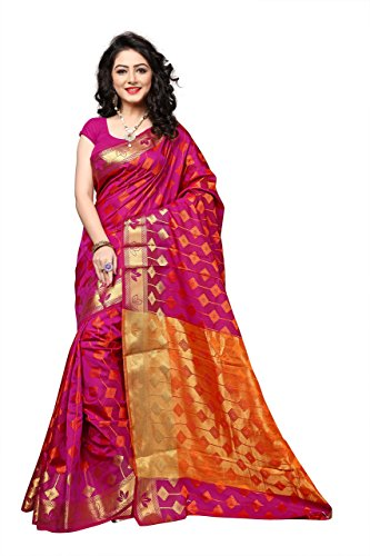 Silk Sarees India (Urban India Silk Saree Free Size Pink)