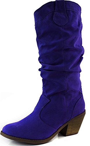 Qupid Muse-01Xx Royal Blue Faux Suede Women Cowboy Boots, 5.5 M US