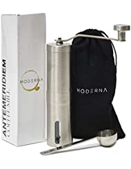 Moderna Manual Coffee Spice and Herb Grinder Travel Set, Ceramic Conical Burr Mill, Heavy Duty Brushed Stainless Steel