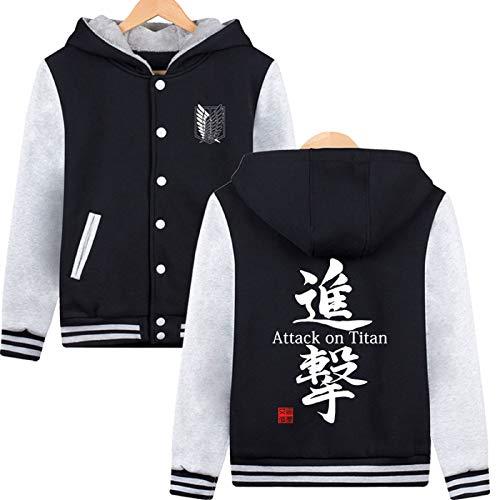 ELEFINE Boys Men's Fleece Thick Hoodies Attack On Titan Cosplay Button Jacket Halloween Baseball Uniform Black&Gray S]()