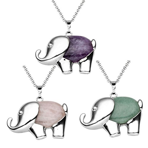 Elephant Healing Gemstone Necklace Stainless
