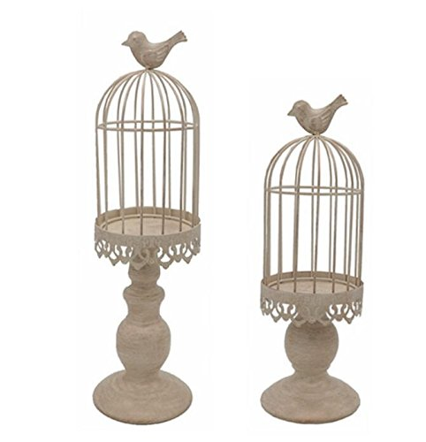 LANLONG Birdcage Candle Holder, Vintage Candle Stick Holders, Wedding Candle Centerpieces for Tables, Iron Candlestick Holder Home Decor (Candle Holder 2#) (beige)]()