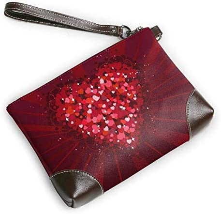 GLGFashion Pochette en cuir Sac à main Bourse Women's Leather Wristlet Clutch Wallet Red Heart Storage Purse With Strap Zipper Pouch