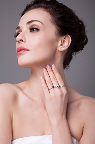 JewelryPalace 1.81ct Magnifique Bague de Fiançailles Femme Alliance Mariage Anniversaire Amour 3 anneaux Ensemble en Argent Sterling 925 en Zircone Cubique de Synthèse CZ