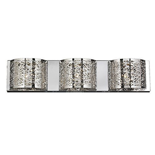 Worldwide Lighting Aramis Collection 3 Light Chrome Finish and Clear Crystal Wall Sconce 30