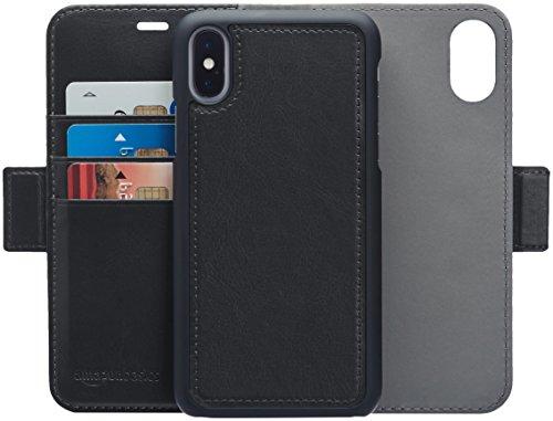 AmazonBasics iPhone X PU Leather Wallet Detachable Case, Black